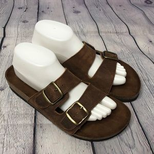 White Mountain Brown Leather Sandals size 10